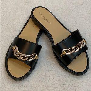 Charles Albert Black Slide Sandals  Size 9 New